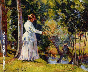 Madame Guillaumin Fishing 1894 Painting By Armand Guillaumin