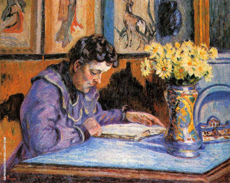 Woman Guillaumin Reading 1895 By Armand Guillaumin Replica Paintings on Canvas - Reproduction Gallery