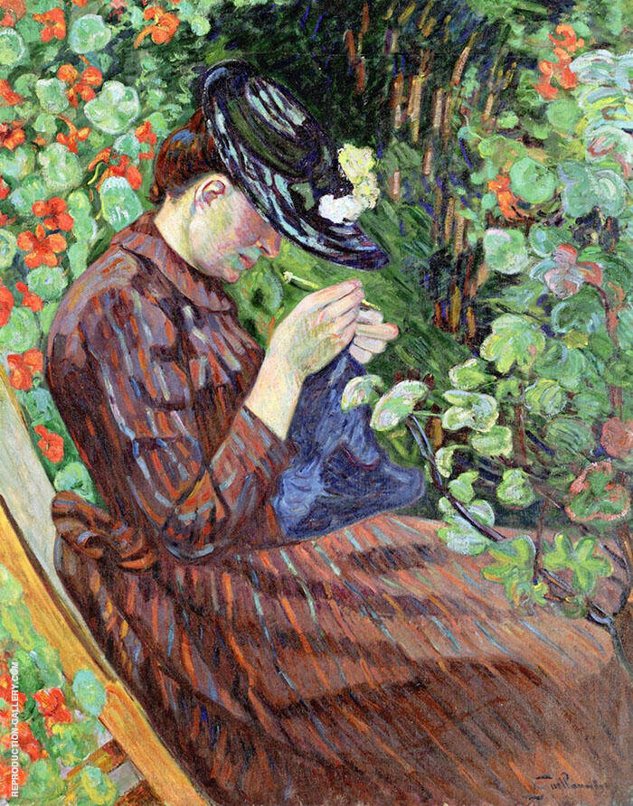 Madame Guillaumin Sitting in a Garden 1890 By Armand Guillaumin Replica Paintings on Canvas - Reproduction Gallery
