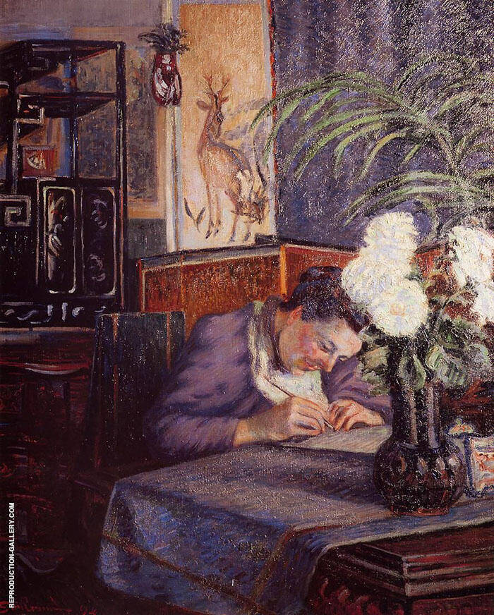 Madame Guillaumin Writing 1894 Painting By Armand Guillaumin
