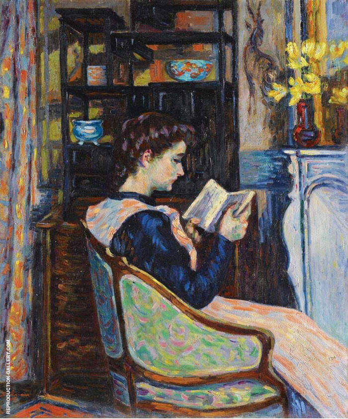 Mademoiselle Guillaumin Reading 1907 By Armand Guillaumin Replica Paintings on Canvas - Reproduction Gallery