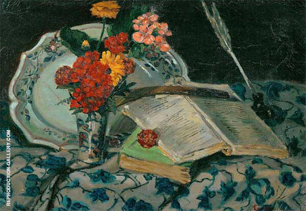 Nature Morte Fleurs Faience Livres 1872 Painting By Armand Guillaumin