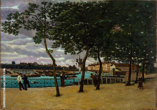 Near the Seine Cloudy Day 1871 By Armand Guillaumin Replica Paintings on Canvas - Reproduction Gallery
