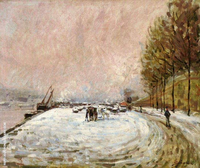 Quai Saint Bernard in the Snow 1882 By Armand Guillaumin Replica Paintings on Canvas - Reproduction Gallery