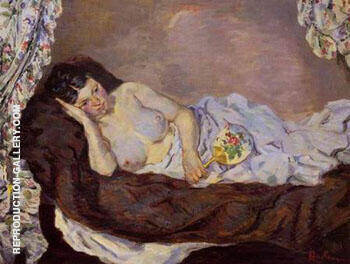 Reclining Nude c1877 By Armand Guillaumin Replica Paintings on Canvas - Reproduction Gallery
