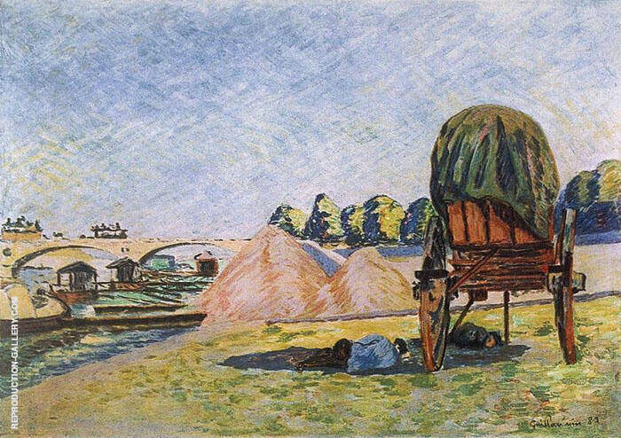 Field with Haycart Painting By Armand Guillaumin - Reproduction Gallery