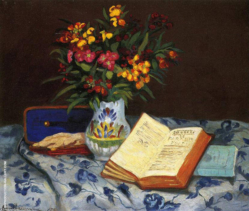 Still Life with Box with Blue Gloves 1873 By Armand Guillaumin Replica Paintings on Canvas - Reproduction Gallery