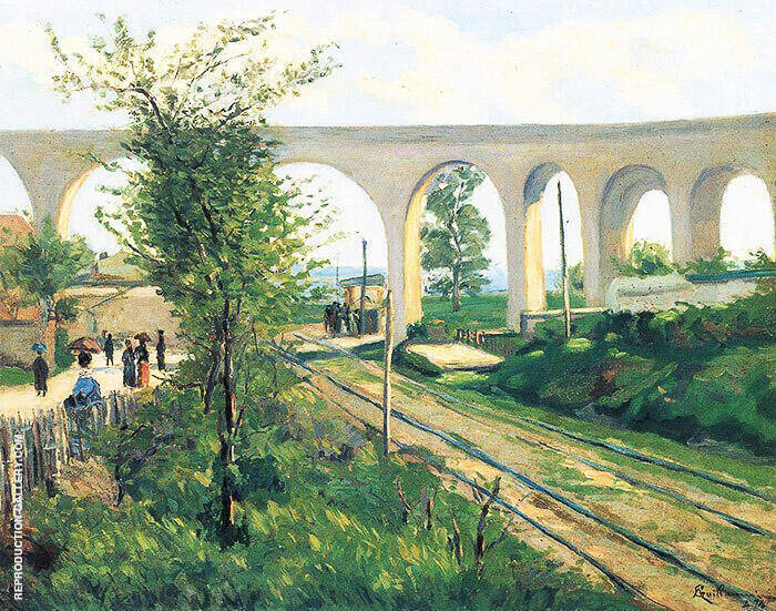 The Arcueil Aqueduct At Sceaux Railroad Crossing 1874 By Armand Guillaumin Replica Paintings on Canvas - Reproduction Gallery