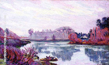 The Banks of the Marne Winter By Armand Guillaumin - Oil Paintings & Art Reproductions - Reproduction Gallery