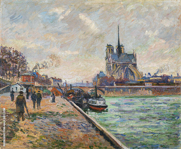 The Bridge of the Archbishops Palace and the Apse of Notre Dame Paris c1880 By Armand Guillaumin Replica Paintings on Canvas - Reproduction Gallery