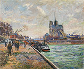 The Bridge of the Archbishops Palace and the Apse of Notre Dame Paris c1880 By Armand Guillaumin
