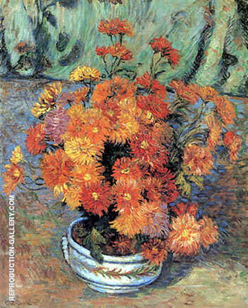 Vase Mit Chrysanthemen By Armand Guillaumin - Oil Paintings & Art Reproductions - Reproduction Gallery