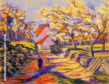 Village Street By Armand Guillaumin - Oil Paintings & Art Reproductions - Reproduction Gallery