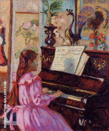 Young Girl at Piano By Armand Guillaumin Replica Paintings on Canvas - Reproduction Gallery