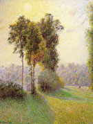 Sunset at Saint Charles Eragny By Camille Pissarro