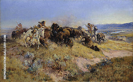 Buffalo Hunt 40 Painting By Charles M Russell - Reproduction Gallery