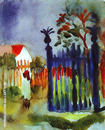 Garden Gate By August Macke - Oil Paintings & Art Reproductions - Reproduction Gallery