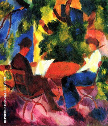 Couple at Garden Table By August Macke - Oil Paintings & Art Reproductions - Reproduction Gallery