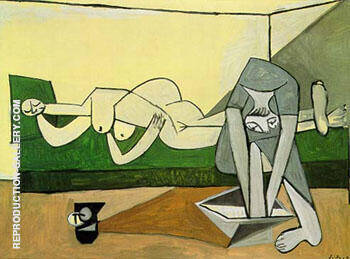 Reproduction of Femme Couchee et Femme qui se Lave Le Pied 1944 by Pablo Picasso | Oil Painting Replica On CanvasReproduction Gallery