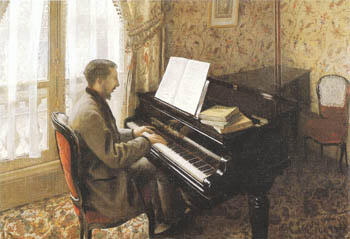 Young Man Playing the Piano 1876 By Gustave Caillebotte