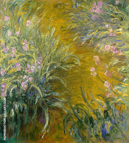 The Path Through the Irises 1915 By Claude Monet Replica Paintings on Canvas - Reproduction Gallery