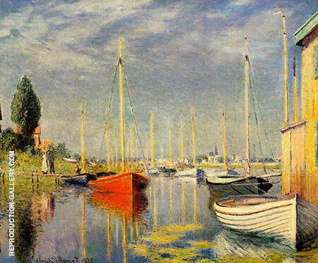 Pleasure Boats at Argentuil 1875 By Claude Monet - Oil Paintings & Art Reproductions - Reproduction Gallery