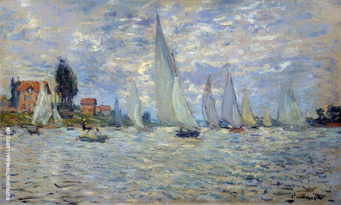 The Boats Regatta at Argenteuil 1874 Painting By Claude Monet