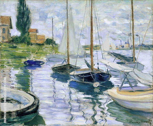Sailboats in The Boat Rental Area 1874 Painting By Claude Monet