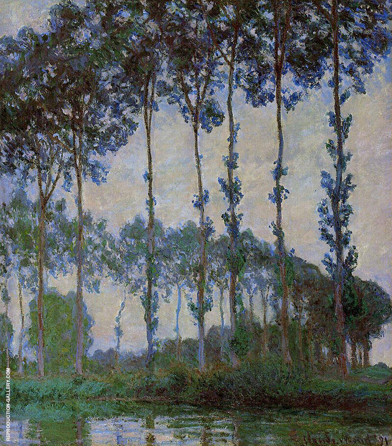 Poplars on the Banks of the River Epte At Dusk 1891 Painting By ...