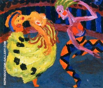 Reproduction of Dancer and Harlequin 1920 by Emil Nolde | Oil Painting Replica On CanvasReproduction Gallery