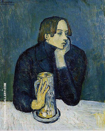 Portrait of Jaime Sabartes The Glass of Beer 1901 By Pablo Picasso - Oil Paintings & Art Reproductions - Reproduction Gallery