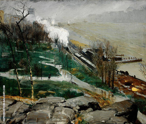 Rain on the River 1908 Painting By George Bellows - Reproduction Gallery