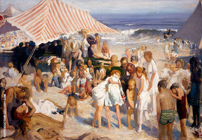 Beach at Coney Island 1908-10 Painting By George Bellows