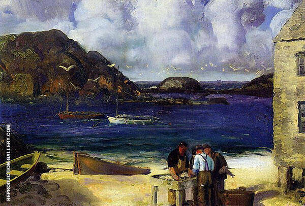 Harbor at Monhegan 1913 Painting By George Bellows - Reproduction Gallery