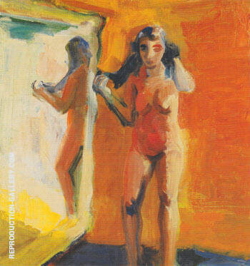 Girl in Mirror 1960 By Elmer Bischoff - Oil Paintings & Art Reproductions - Reproduction Gallery