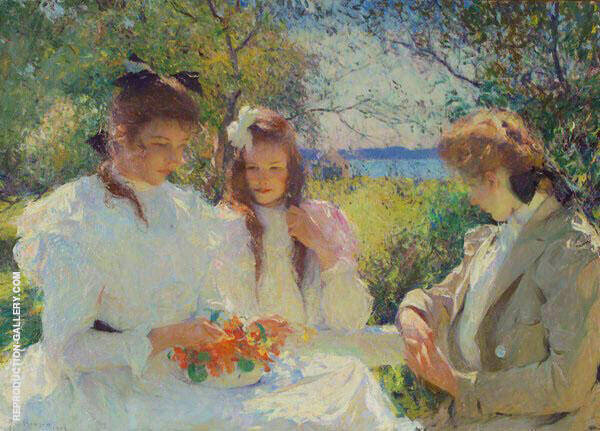 Portrait of My Daughters 1907 By Frank Weston Benson Replica Paintings on Canvas - Reproduction Gallery