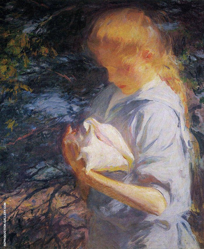 Eleanor Holding a Shell By Frank Weston Benson Replica Paintings on Canvas - Reproduction Gallery