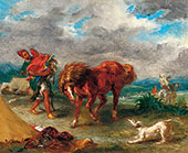 Arab about to Saddle His Horse 1857 By Eugene Delacroix