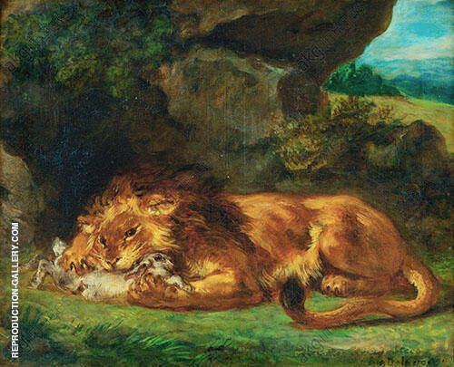 Lion Devouring a Rabbit 1856 Painting By Eugene Delacroix