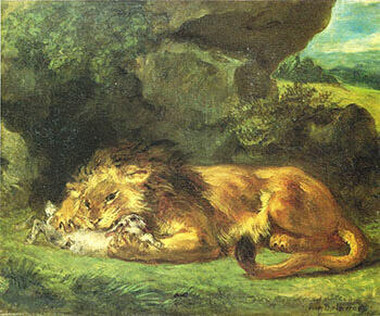 Lion Devouring a Rabbit 1856 By F.V.E. Delcroix - Oil Paintings & Art Reproductions - Reproduction Gallery