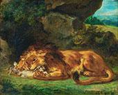 Lion Devouring a Rabbit 1856 By Eugene Delacroix