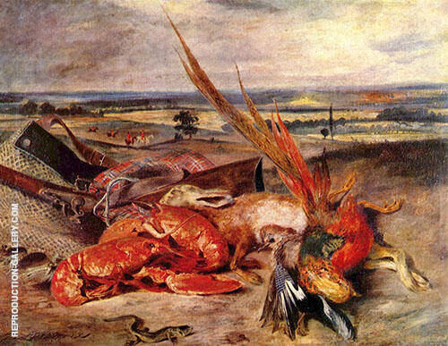 Still Life with Lobsters 1826 By Eugene Delacroix