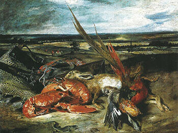 Still Life with Lobsters 1826-27 By F.V.E. Delcroix - Oil Paintings & Art Reproductions - Reproduction Gallery