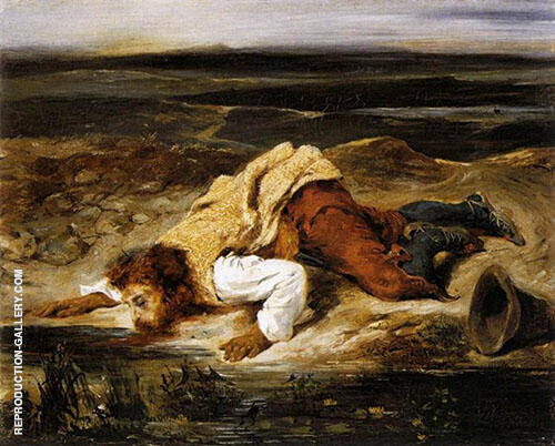 A Mortally Wounded Brigand Quenches his Thirst c 1825 By Eugene Delacroix