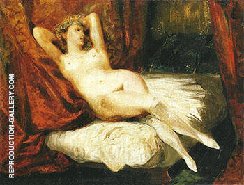 Female Nude Reclining on a Divan c 1825-26 By F.V.E. Delcroix - Oil Paintings & Art Reproductions - Reproduction Gallery
