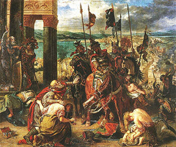 The Entry of the Crusaders into Constantinople 1840 By F.V.E. Delcroix - Oil Paintings & Art Reproductions - Reproduction Gallery