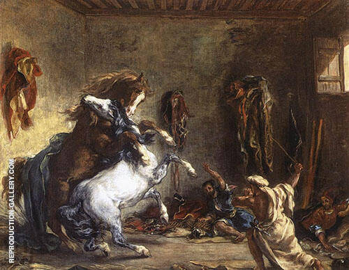 Arab Horses Fighting in a Stable 1860 By F.V.E. Delcroix Replica Paintings on Canvas - Reproduction Gallery