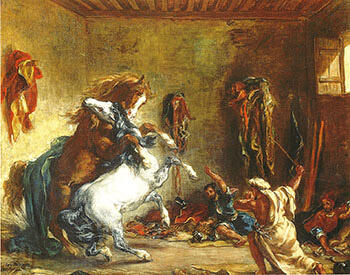 Arab Horses Fighting in a Stable 1860 By F.V.E. Delcroix - Oil Paintings & Art Reproductions - Reproduction Gallery