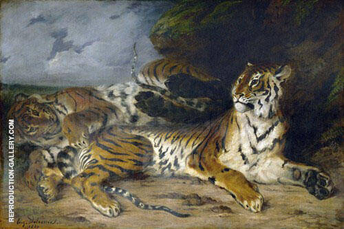 A Young Tiger Playing with its Mother 1830 By F.V.E. Delcroix Replica Paintings on Canvas - Reproduction Gallery