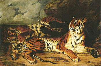 A Young Tiger Playing with its Mother 1830 By F.V.E. Delcroix - Oil Paintings & Art Reproductions - Reproduction Gallery